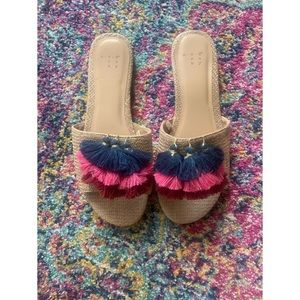 Target Raffia Tassel Slide Sandals